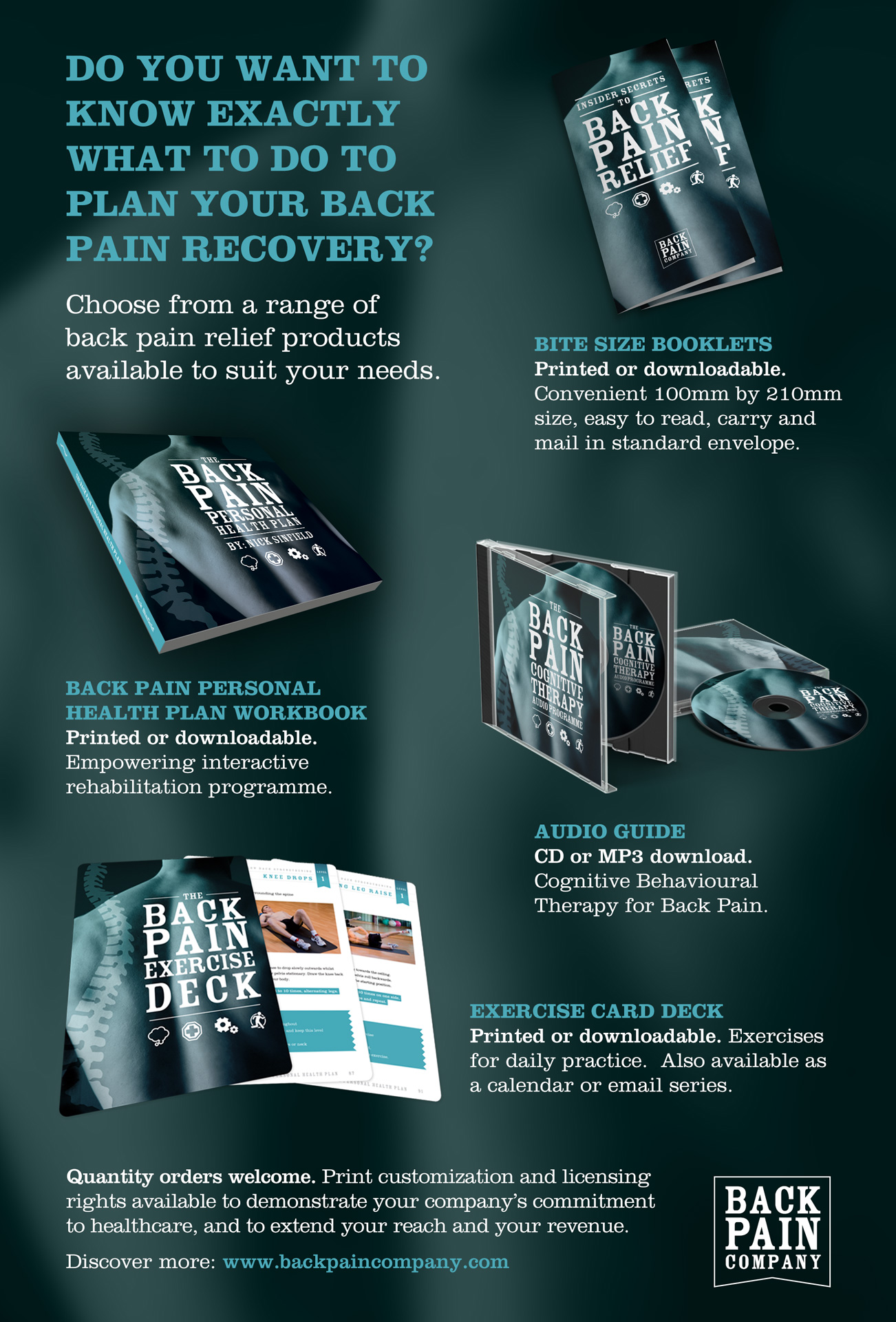 Range of promotions items for the Back Pain Company