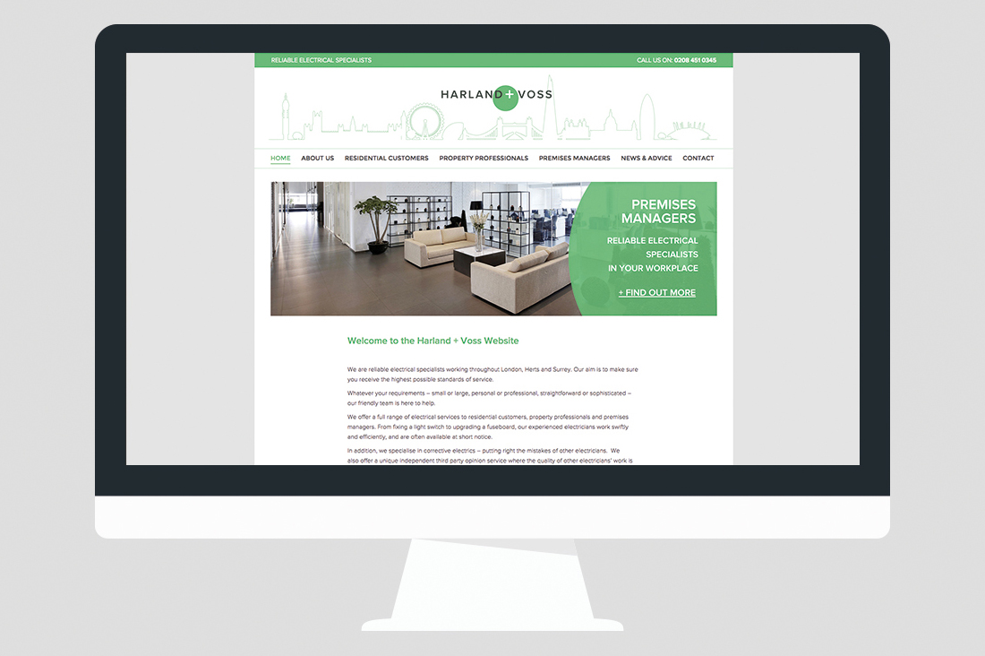 Harland Voss Electricians Website Design