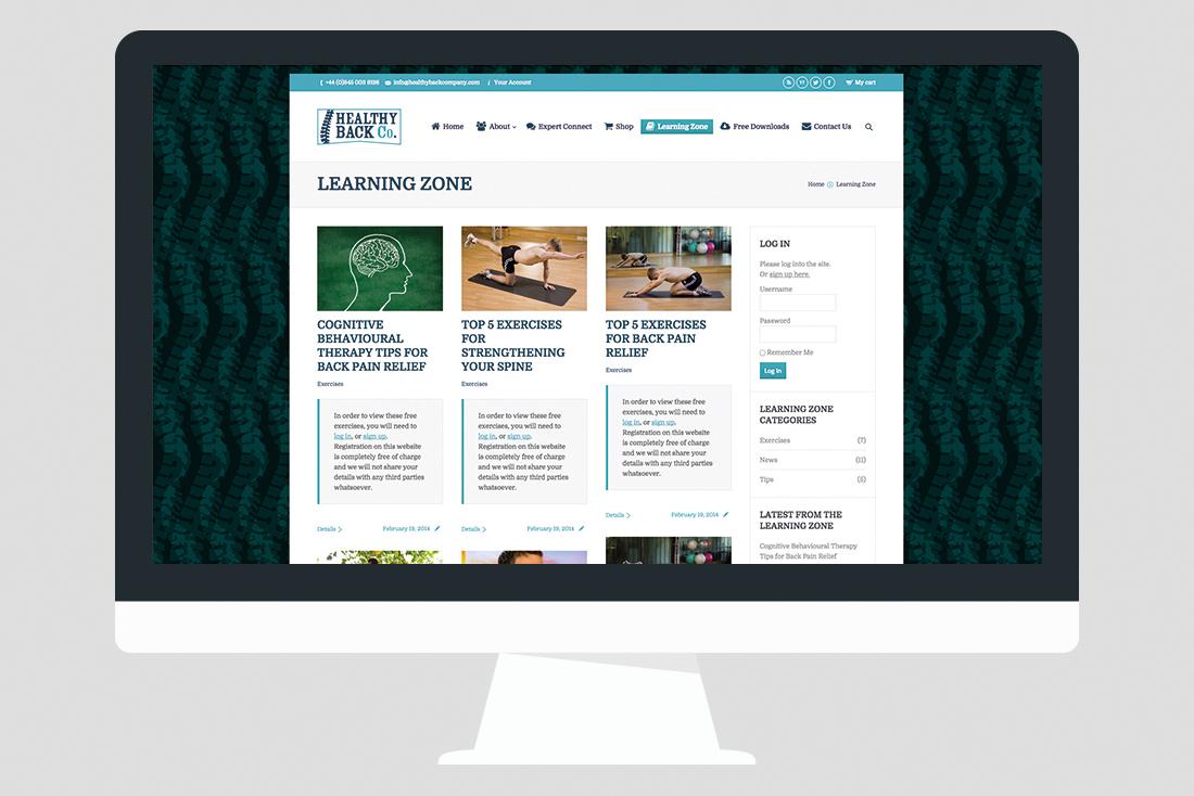 Back Pain Website Design 02